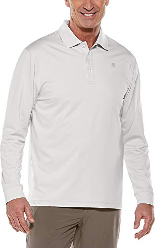 Coolibar UPF 50+ Men's Long Sleeve St. Andrews Golf Polo - Sun Protective (X-Large- Silver)