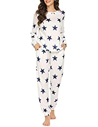 Womens Pajama Set Long Sleeve Sleepwear Star Print Cotton Nightwear Soft Pjs Lounge Sets with Pockets