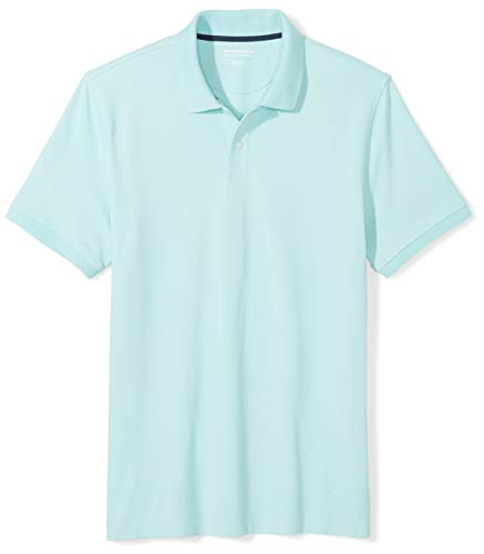 Amazon Essentials Men's Slim-Fit Cotton Pique Polo Shirt, Aqua, - Color Pique 2