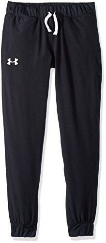 Woven Warm Up Pant - Under Armour Girls' Woven Warm Up Pant, Black (001)/White, Youth Medium