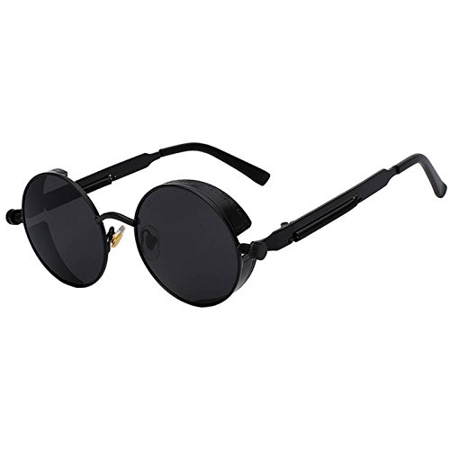 Steampunk Retro Gothic Vintage Hippie Matte Black Metal Round Circle Frame Sunglasses Black Lens - Mens Glasses Round