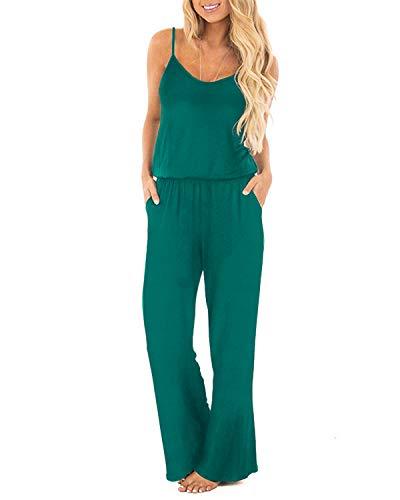 OUGES Women's Plain Sleeveless Racer Back Wide Leg Pant Jumpsuits Romper(Green,XL) ()