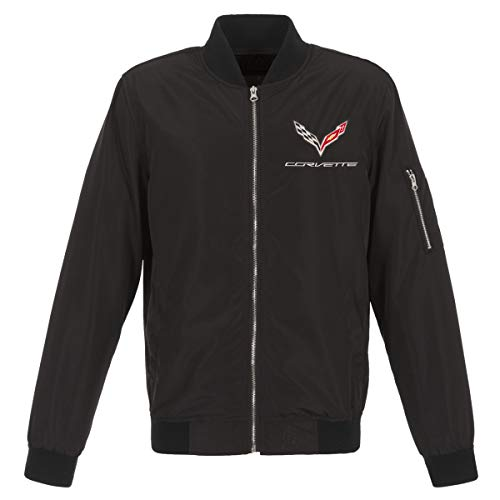 JH DESIGN GROUP Mens Chevy Corvette Lightweight Zip-Up Nylon Jacket with Knit Trim (Large, Black) - Novelty Knit Jacket