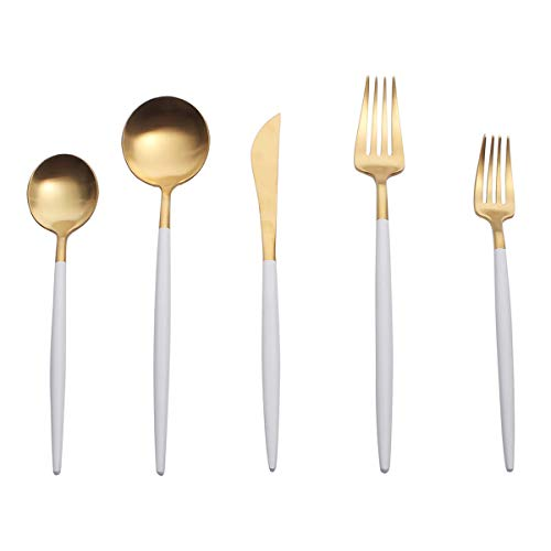 Spoons and Forks Set, 5 Pieces Royal Utensil Set Including Knife, Fork and Spoon, 18/10 Stainless Steel, Matte Cutlery Set for 1, White and Gold