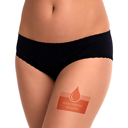 EvaWear 2 Pack, Tampon Replacement, Premium Quality, Menstrual Leakproof Period, Postpartum Maternity Panties, Various Styles (Medium Hipster, Black)