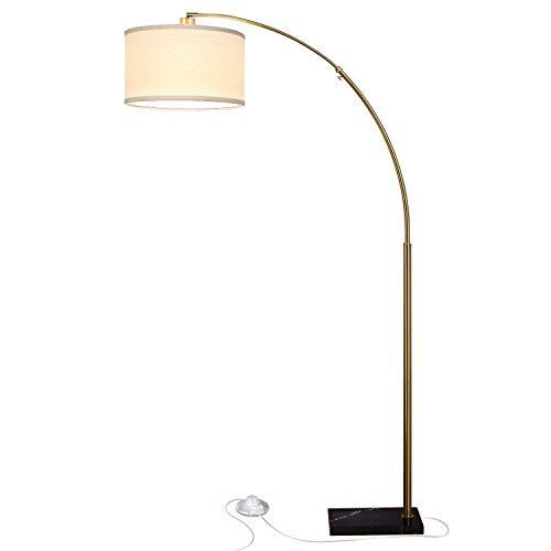 Brightech Logan LED Floor Lamp- Modern Arc with Hanging Shade & Heavy Marble Base - Industrial Uplight Downlight with Ambient Lighting for Living Room and Bedroom - - Base Floor Lamp Marble