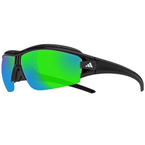 adidas Evil Eye Halfrim Pro S A198 6090 Rectangular Sunglasses, Black Shiny & Black, 66 - S Pro Eye Evil Halfrim