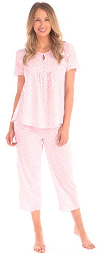 Patricia Women's Cute Pajama Set Capri Bottoms and Short Sleeve Top PJ's (Cradle Pink Floral, X-Large)