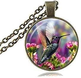 Collar para pájaros con colgante de cristal natural de pájaros y flor colorida