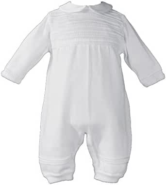 Boys Knit White Christening Baptism Coverall