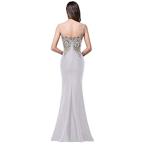 Sleeveless Spiaggia Mermaid Da A color Abiti Lunghi Abito Silver Con Lace Women For Formal Size Damigella Xxl V Dress Scollo Appliques Maxi Lisansang Evening D'onore ztfw5xE5q