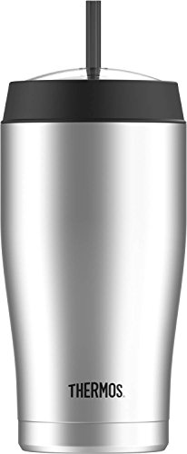 Thermos 22 Ounce Vacuum Insulated Cold Cup with Straw, Stainless Steel (Thermos Insulated Cup)