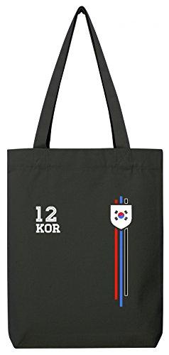 Soccer World Cup Fussball WM Fanfest Gruppen Premium Bio Baumwoll Tote Bag Jutebeutel Stanley Stella Streifen Trikot Korea Black rkqqK9nQIx