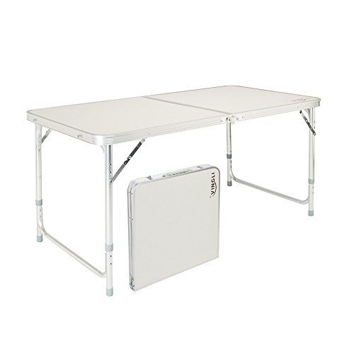 VINGLI 4 Foot Folding Table with Adjustable Height & Carry Handle,Outdoor Picnic Camping Dining Table, Aluminum Utility Suitcase Desk (Half Round Plastic Table)