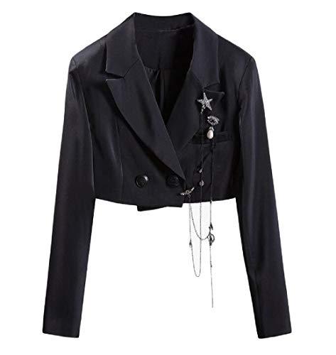 Etecredpow Women's Long-Sleeve One Button Top Coat Short Blazer Jackets Black L Black Off Road Coat