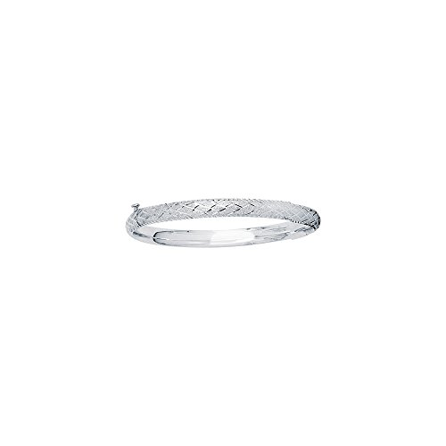 JewelStop 14k White Gold 5 mm (3/16'') Engraved Baby Bangle by JewelStop