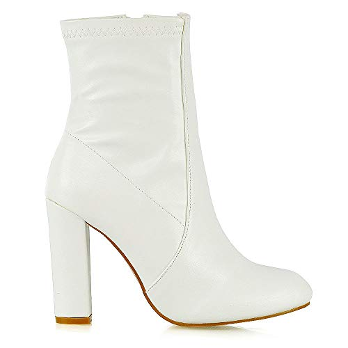 Heel White Boots (ESSEX GLAM Womens Sock Boots Ladies White Synthetic Leather High Rise Block Heel Zipper Round Toe Shoes 6 B(M) US)