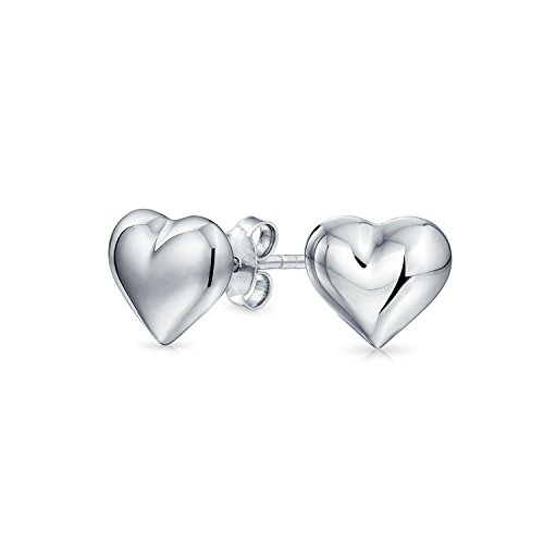 (Small Love Heart Shaped Puffed Stud Earrings For Women For Girlfriend Polished 925 Sterling Silver 8MM)