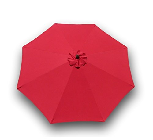Replacement Umbrella Canopy for 9ft 8 Ribs Red (CANOPY ONLY) (Sunbrella Red)