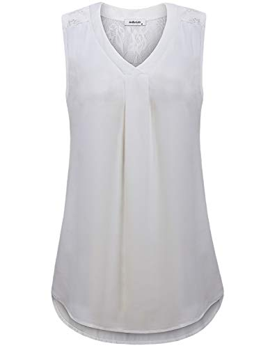 Sleeveless Chiffon Blouses for Women,Junior Elegant Lace Tops Loose Summer Tanks Vintage V Neck Cute Camisole Pleated Front Ruched Swing Surplice Business Casual Shirts Office Wear Tunics White M