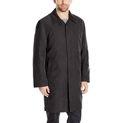 - London Fog Men's Durham Single Breasted Rain Coat with Zip-Out Liner, Black, 50