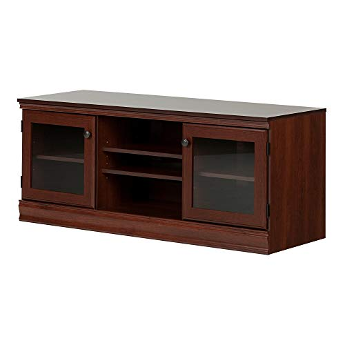 """South Shore Morgan TV Stand with 2 Glass Doors for TVs up to 60"""", Royal Cherry"""