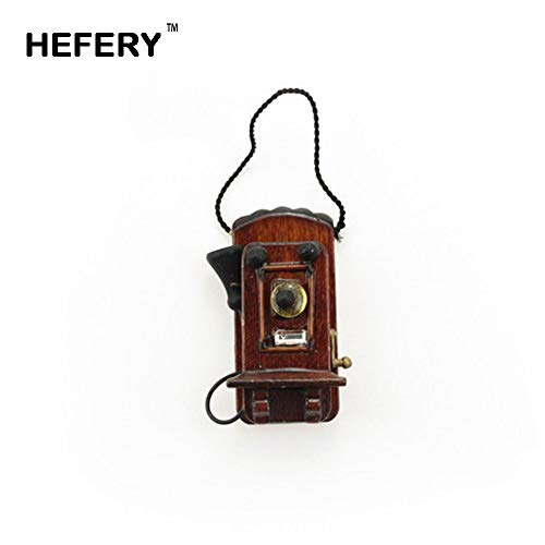 Kiartten Furniture - Dollhouse Miniature Accessories Mini Vintage Wall Hanging Telephone Simulation Furniture Toys for Doll House Decoration 1 Pcs