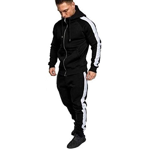 Sunmoot Stripes Sport Suit for Mens New Spring Zipper Hoodie Sweatshirt Top Pants Sets Tracksuit Black]()