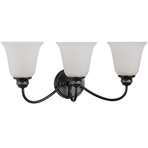 Doraimi 1/3 Light Opal Glass Shade Wall Sconce Lighting (Black,3 Light) ()