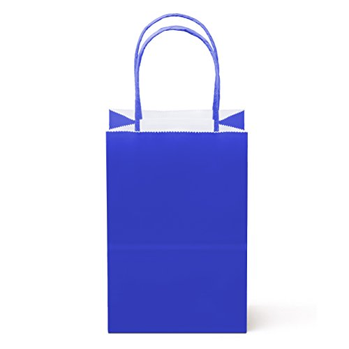 8 Counts Food Safe Paper and Ink, Natural Premium Paper (Sturdy, Thicker, & Biodegradable), Vivid Colored Paper Goody Kraft Bag with Colored Sturdy Handle (Small, Royal Blue) (Royal Blue Bags Gift)