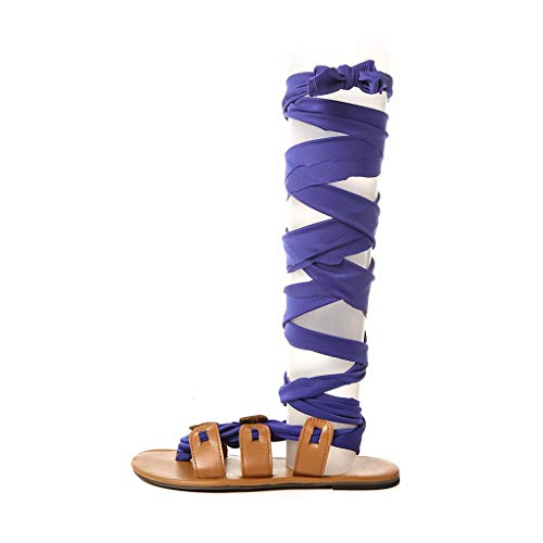 - Women Sandals Thong Bandage Bohemian Beach Shoes Summer Knee High Flat Shoes