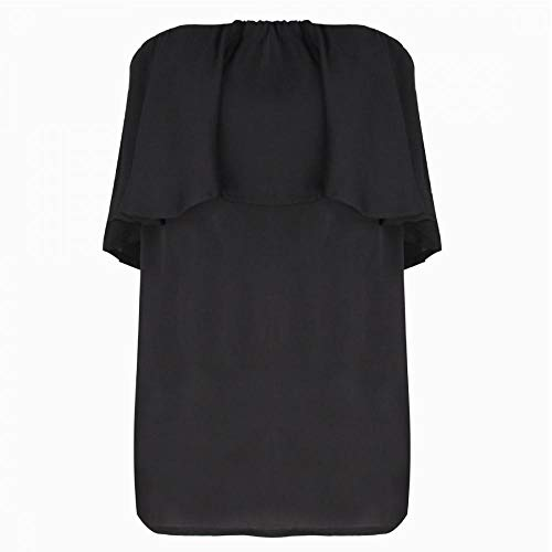 Women\'s Strapless Ruffle Off Shoulder Elegant Chiffon Sleeveless Tube Top Loose Blouse (Black,L)