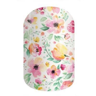 Jamberry Nail Wraps - Boutique - Full Sheet - Watercolor Pink Floral on White
