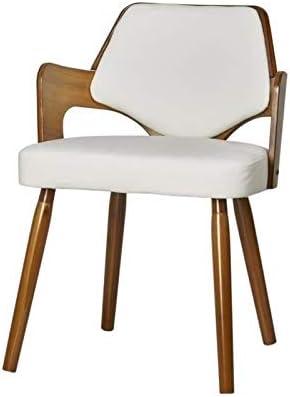 Chaise de Séjour,Contemporain,simili,bois, Blanc, 50cm x