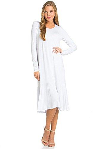 12 Ami Mari Long Sleeve Flowy Hem Midi Dress - Made in USA