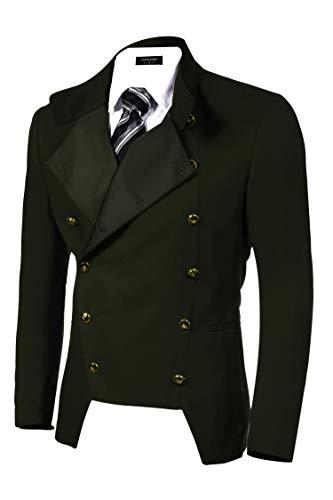 - COOFANDY Men's Luxury Slim Fit Suit Blazer Double-Breasted Jacket Steampunk Coat Green