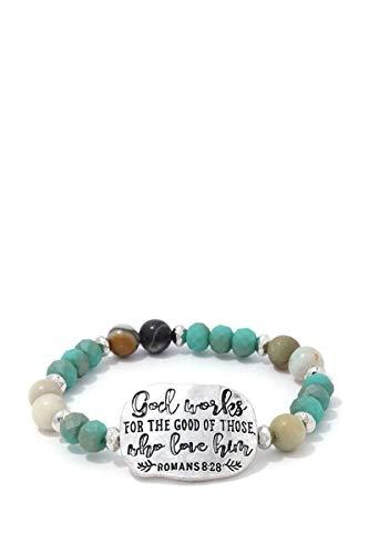 Tripledmerchandise Romans 8:28 Beaded Stretch Bracelet ()