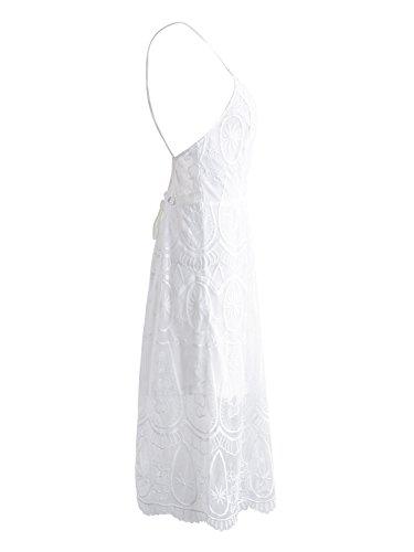 Vestito Midi Trasparente Bianco In Partito Delle Abbigliamento Simplee Backless Sexy Pizzo Estate Donne AwTqn4ft5x