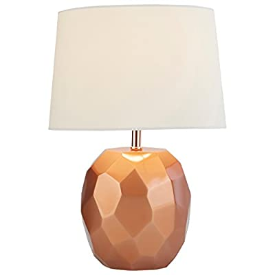 Amazon Brand – Rivet Copper Geometric Bedside Table Desk Lamp With Light Bulb - 16.75 Inches, Copper - Add some glam to your room with this fashionable contemporary table lamp.  The multi-faceted geometric base has a copper finish that pairs well with dark furniture for that modern look. Glamorous, modern style Polyresin, multi-faceted base with a copper finish and smooth linen shade - lamps, bedroom-decor, bedroom - 31l4o731v7L. SS400  -