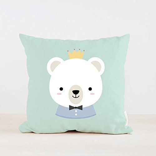 Nursery Boy Bear Pillow Cover, Home decor, Kids Pillow Cushion, Baby room decor, Children Room Decor, 16x16, Pillowcases, Gift for (Hampton Cologne)