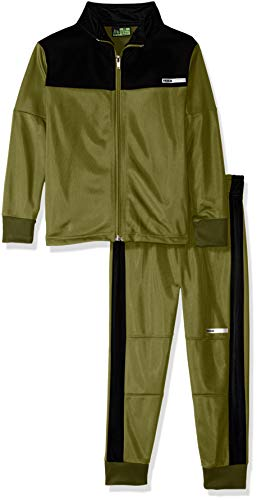 RBX Boys' Little Tricot Zip Jacket and Pant Set, Loden Green/Black, 5/6