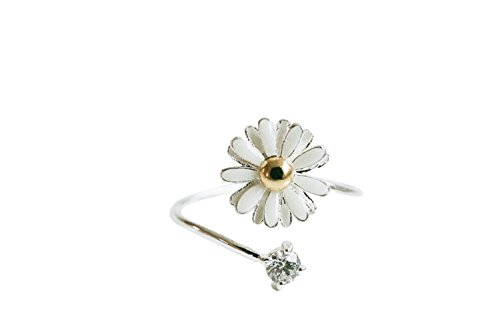fashion jewelry bling beautiful cute simple brass for women teens girls friend her pretty adjustable expendables scratch midi knuckle wrap around cz cubic zirconia plant white leaf daisy flower - Daisy Stretch Ring
