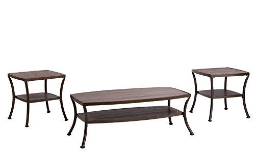 Divano Roma Furniture 3 Piece Modern Rectangular Coffee Table and 2 End Tables Living Room Set (Rustic) 3 Piece Living Room Coffee Table