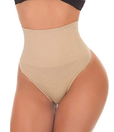 SEXYWG Women Waist Cincher Girdle Tummy Control Thong Panty Slimmer Body Shaper Beige (Best Stomach Flattening Shapewear)