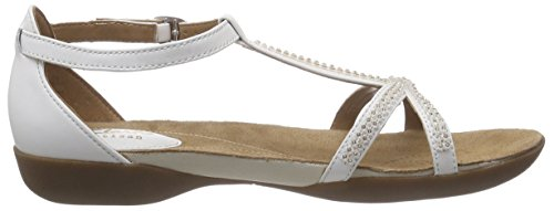 Clarks Raffi Star Damen T-Spangen Sandalen Weiß (White Leather)