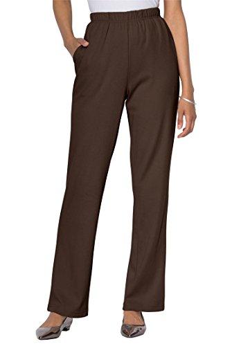 Roamans Women's Plus Size Classic Soft Knit Pants Chocolate,