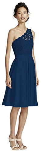 MORE COLORS Short One Shoulder Corded Lace Bridesmaid Dress Style F15711, Marine, 14 price tips cheap