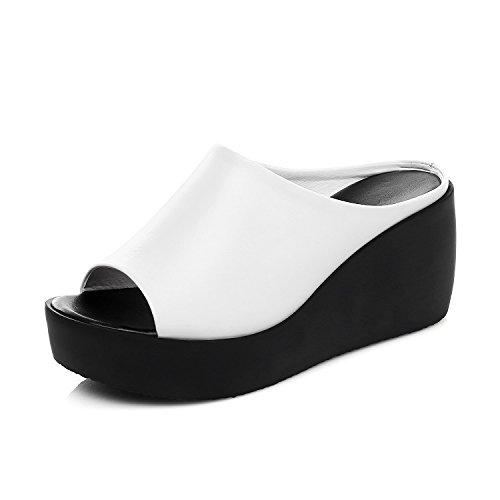 ZPPZZP Ms sandali pantofole a tacco alto spessa pendenza con trascinare 39EU bianco