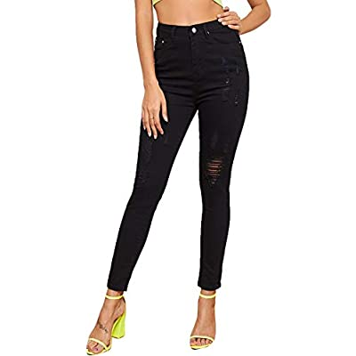 SweatyRocks Women's Hight Waisted Stretch Ripped Skinny Jeans Distressed Denim Pants at Women's Jeans store