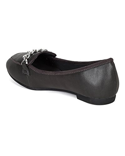 Breckelles BE97 Women Leatherette Chain Moccasin Flat Loafer Grey VkhSOeZf4q